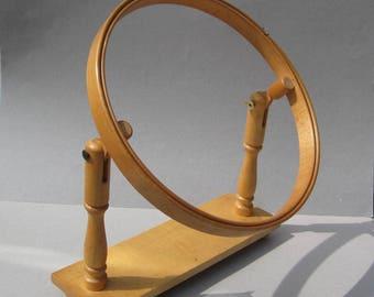 Vintage Wood Embroidery Hoop Stand Adjustable Hands Free Needlework Display Western Germany 12 Inch Hoop