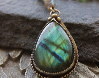 Large Labradorite Pendant, bezel set, Gemstone necklace, healing gemstone, bohemian chic, metalwork pendant
