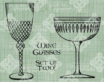 Digital Download, Wine Glasses set of 2 styles, Champagne, Transparent png, Digi stamp, Antique Illustration, Vintage