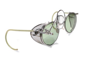 Steampunk Goggles Antique SELLSTROM Light GREEN Tinted Lenses Mesh Side Shields Clip 2 Loupes Pair Burning Man MINT - Goggles by edmdesigns