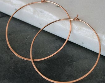 Large Rose Gold Filled Hoops, Round Classic Eternity Earrings, High Quality Rose Karat Gold Fill