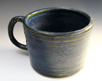 Handmade Pottery Latte Mug, Ceramic Soup Mug in Denim Blue