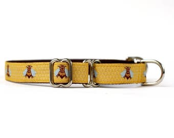 5/8 or 3/4 Inch Wide Dog Collar with Adjustable Buckle or Martingale in Honey Bees