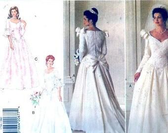 Brides Romantic Wedding dress vintage 90s sewing pattern Butterick 3796 Sz 6 to 10 UNCUT
