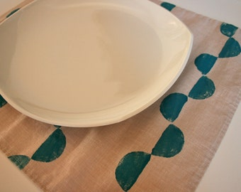 Linen Placemat Handprinted -  Turquoise Ribbon