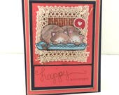 Happy Anniversary Card, Cat Anniversary Card, Card with Cats, Sleeping Cats, Love Card, Couple's Card, Romance Card