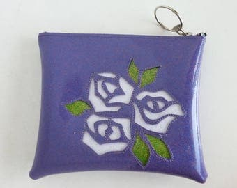 Blueberry metalflake make up bag with pink roses and lime green leaves
