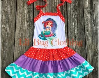Little Mermaid Ariel Dress, Little Mermaid Ariel Birthday Dress, Ariel Little Mermaid Birthday Party Dress