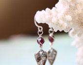 SALE Red Garnet Sterling Silver Earrings, Dangle, Valentine's Day Gift
