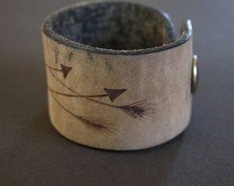 Arrow Leather Cuff Brown Bracelet, Branded, Hand burned, Recycled Belt, Unique