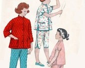 ON SALE 1950s Childs Christmas Pajamas with Mandarin Collar Asian Flare Butterick 7058 Vintage 50s Sewing Pattern Size 10 Breast 28 Uncut