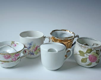 Set of 5 floral porcelain MUSTACHE tea cups - pink spring flowers