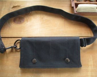 black waxed canvas Utility wallet hip bag hipster Smartphone  modern Fanny Pack Waist practical pouch mini messenger organizer satchel