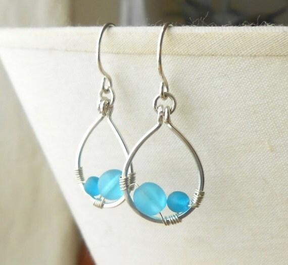 Silver Drop Earrings, Beaded Sterling Silver Dangle Earrings, Blue Beach Glass Jewelry