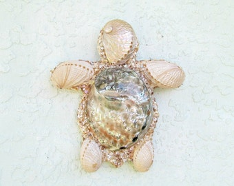 Turtle Art Sea Turtle, Sea Shells Pearl Abalone Shells on Turtle Wall Sculpture, Wall Hanging Coastal Beach Decor Turtle, OOAK Turtle