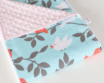 Patchwork Baby Girl Blanket, Tweetie Pie (2) Print Patchwork Lovie with Blush Pink Minky