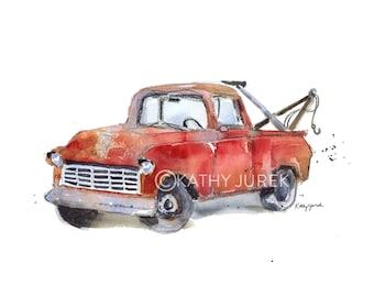 Tow Truck Print - Tow Truck Nursery Decor - Tow Truck Nursery Art - Truck Nursery Print - Vintage Tow Truck Art