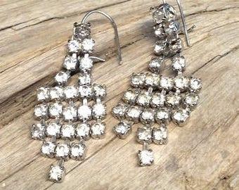 Vintage Rhinestone sparkle earrings, waterfall earrings
