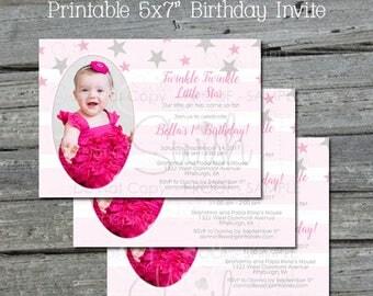 Twinkle Twinkle Little Star Birthday Invitation    First Birthday Invite   Pink Gray Grey Stripe   1st Birthday Photo Printable   5x7 Invite