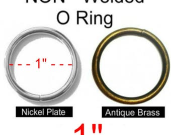 "100 PIECES - 1"" - Metal O Ring - Non Welded - NICKEL Plate or Antique Brass Finish"