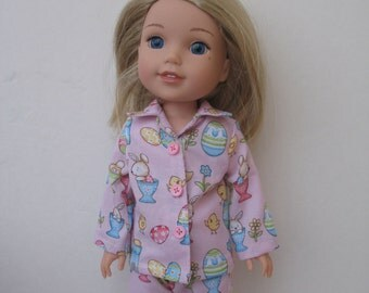 "Wellie Wishers American girl 14.5"" Doll Clothes Pajamas"
