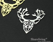 Exclusive - 1pcs  Silver / Gold Plated Brass Stag Charm / Pendant, High Quality, Fit For Necklace, Earring, Brooch
