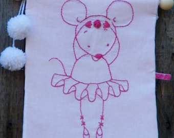 Patchwork Embroidery Pink Mouse Ballerina Embroidery  Banner Flag Decor