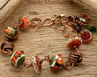 SMOKEY MOUNTAINS - Handmade Lampwork Glass. Crystal and Copper Bracelet