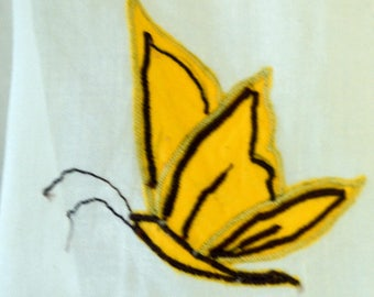 Vintage Butterfly Hostess Apron 50's Apron Yellow Butterflies
