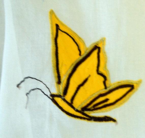 Vintage Butterfly Hostess Apron 50's Apron Yellow Butterflies