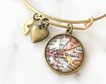 New Orleans Map Charm Bangle Bracelet - Personalized Map Jewelry - Bangle - Louisiana - NOLA - Travel - Wanderlust