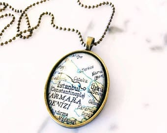 Custom Vintage Map Necklace - You Pick City - Personalized Map Jewelry - Wedding - Bridesmaid - Birthday Gift