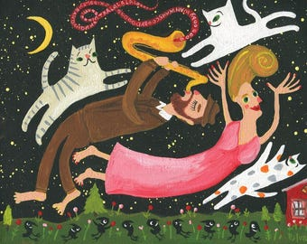 Jazz Sax and Cat Art Painting - Music At Night Stars & Moon Crows Outsider Folk Artwork - Man Plays Saxophone Girl Flies Chagall Inspired