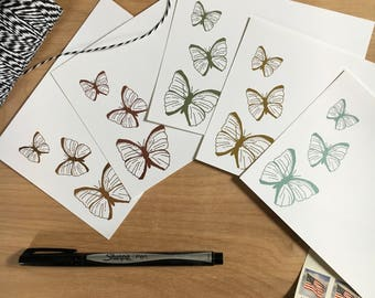 butterfly foil flat note cards - A2
