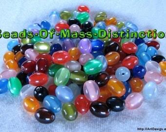 200 Jelly Bean Beads - 8mm x 10mm Mixed Acrylic Cats Eye Beads