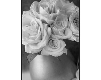 Rose Still Life Photography, Rose Bouquet Wall Art, Rose Print, Black and White Sepia Photography, Fine Art Print, Zen Art
