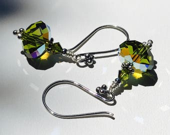 Green Rainbow Crystal Faceted Briolette Earrings with Silver Wires