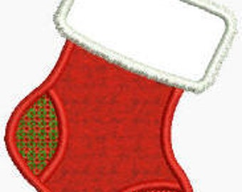 Machine Embroidery Applique Christmas Stocking Design pes dst emb sew hus Auto Download