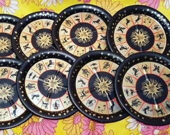 Set of 8 vintage zodiac tin coasters