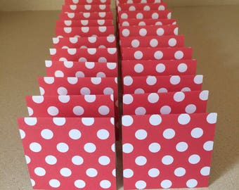 Mini Cards 24 Red White Dot - blank for thank you notes 3 x 3