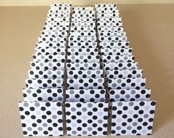 Mini Cards 50 Black Gray Dot - blank for thank you notes 2 x 2