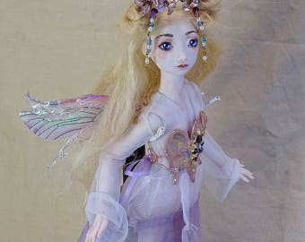 "Cleo, 12"" OOAK polymer clay BJD fairy doll"