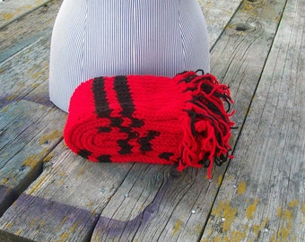 Knitted Red and Black Striped Long Scarf Ready to Ship