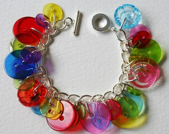 Button Bracelet MultiColor Jelly Rainbow Mix
