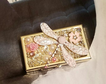 Stash/Pill Box/Pink Dragonfly Bling