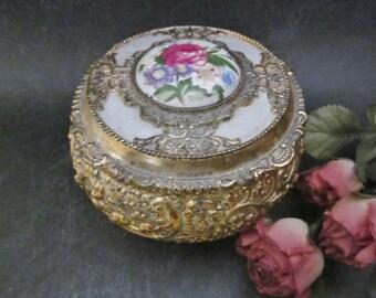 Vintage Trinket Jewelry Box metal jewel box