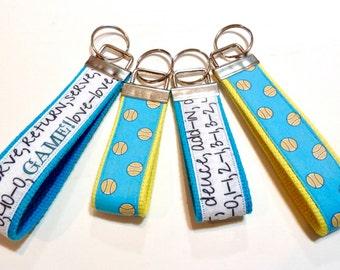 Tennis Key Fobs ~ Wristlet Key Fob ~ Mini Key Fob ~ Tennis Balls ~ Tennis Lingo ~ Tennis Team Gifts