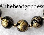 New Design 5 Beautiful Japanese Tensha Beads GOLD CELEBRATION on BLACK 12mm