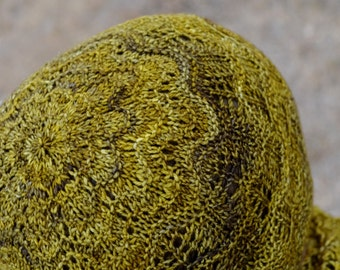 Hand Knit Lace Beanie - Ginger Hat - Grey Yellow Hand-Dyed Luxury Wool Handknit Hat. Women's Fall/Winter Fashion, Boho, Wave Lace Cap.