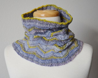 Wild Iris Cowl - Handspun Hand Knit Hand Dyed Superfine Merino Neckwarmer in Soft Purple, Yellow, Gold. One of a Kind Handmade Neckwarmer.